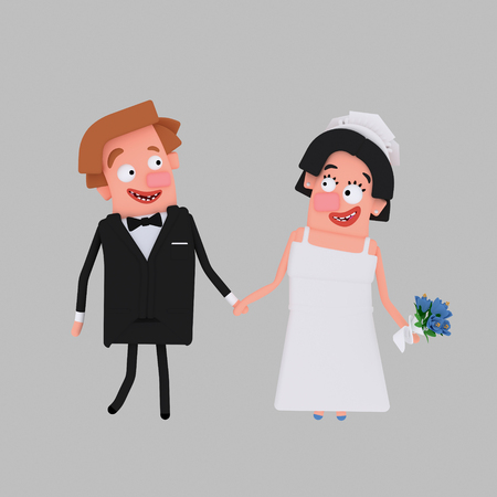 Couple getting marriaged. 3d illustration