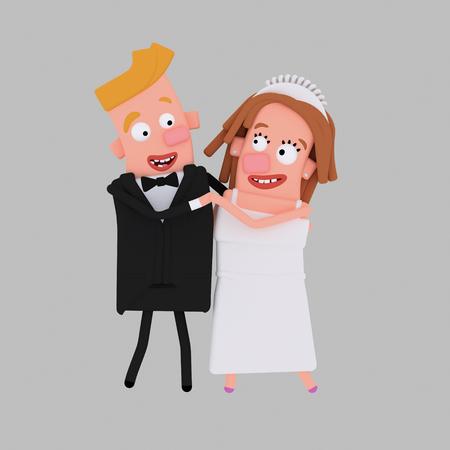 Bride and groom dancing. 3d illustration