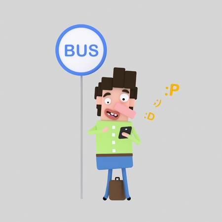Boy chatting while waiting bus. 3d illustration