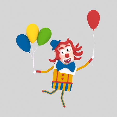 Clown holding many balloon. 3d illustration