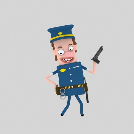 Policeman. Police. Cop. 3d illustration