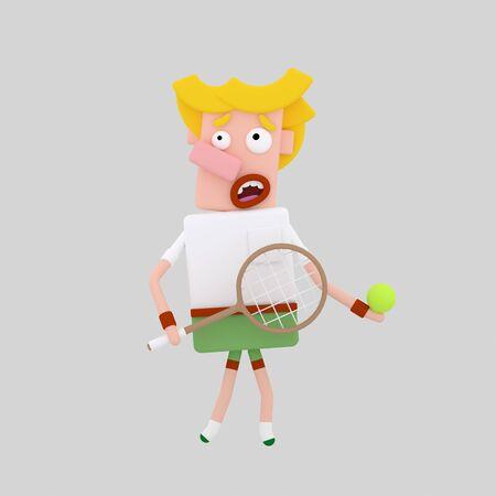 Tennis player. Paddle. 3d illustration