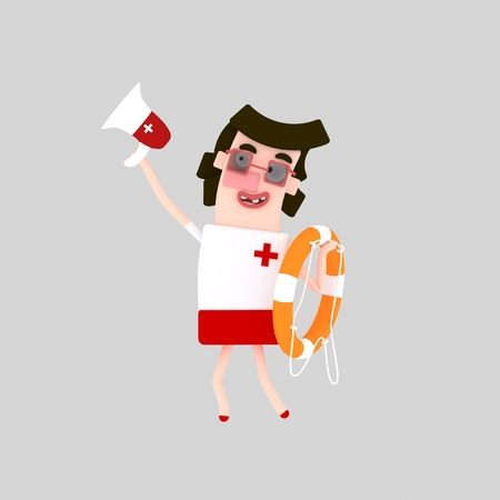 Savior. Lifeguard holding spaker. 3d illustration Stock fotó