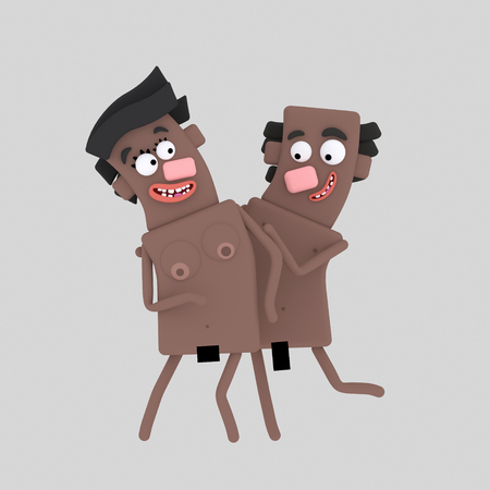 Couple nude 3d illustration