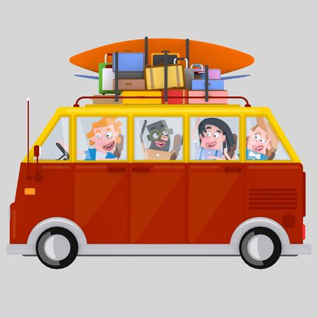 Young people driving to van. 3d illustration
