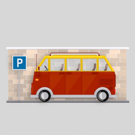 Van parked in parking area. 3d illustration