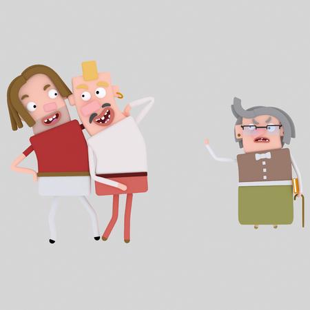 Lovely gay couple. 3d illustration