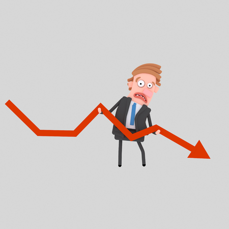 Worried businessman holding failure graph arrow. 3d illustration