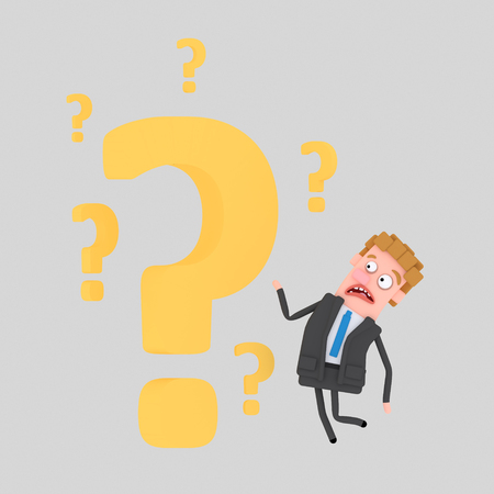 Businessman in front of big question. 3d illustration