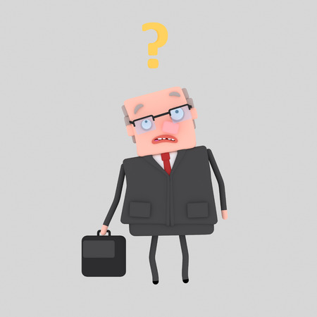 Worried businessman thinking about question. 3d illustration