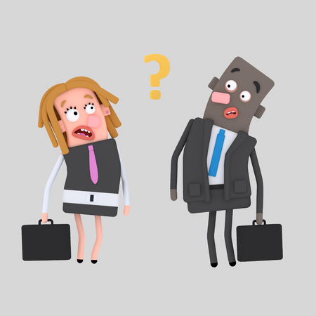 Worried business couple thinking about question. 3d illustration 写真素材