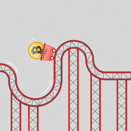 Bitcoin coin on roller coaster fluctuation. 3d illustration