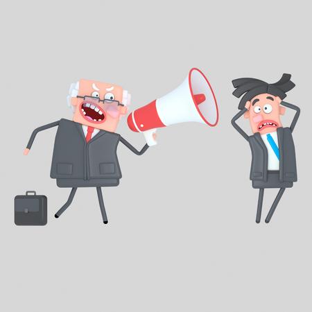 Boss shouting at businessman through a megaphone. 3d illustration