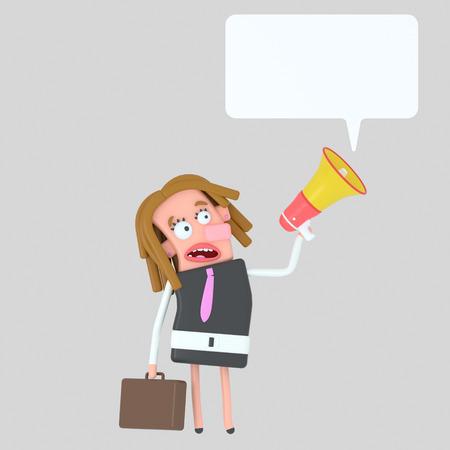 Business girl talking on a megaphone. 3d illustration