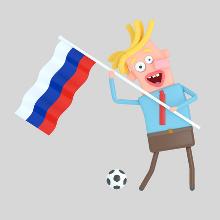 Man holding a flag of Russia