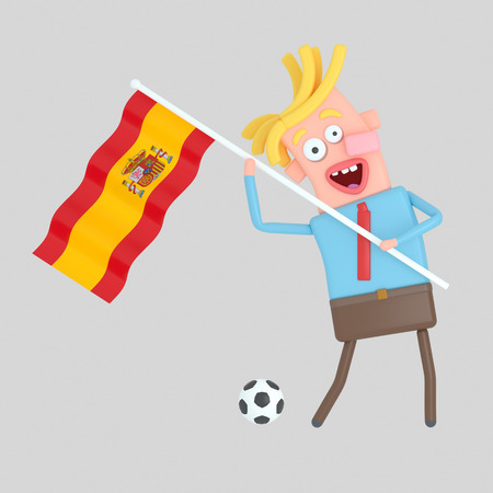 Man holding a flag of Spain