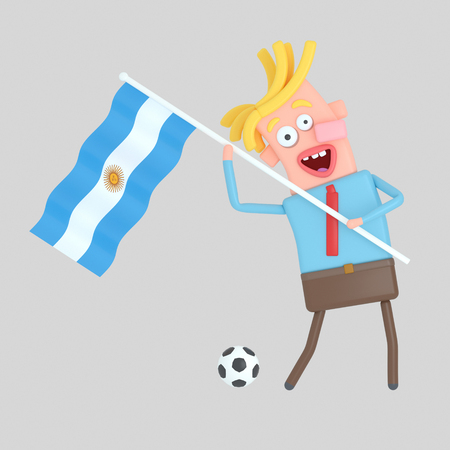 Man holding a flag of Argentina