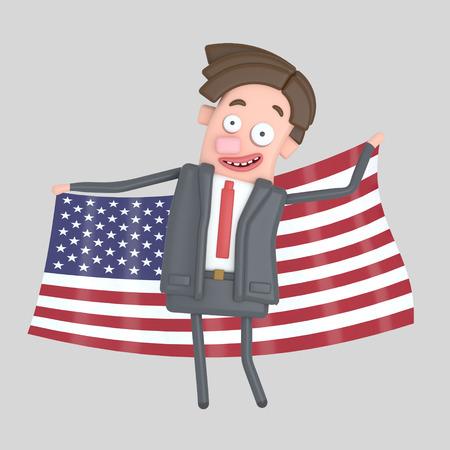 Man holding a big flag of USA. 3d illustration