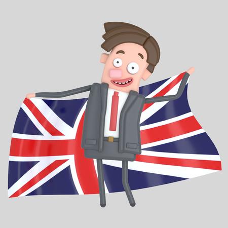 Man holding a big flag of UK. 3d illustration