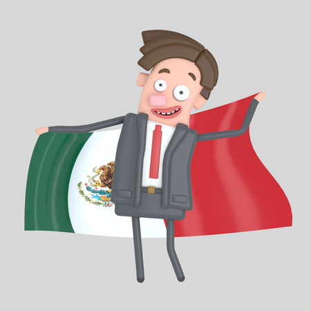Man holding a big flag of Mexico. 3d illustration