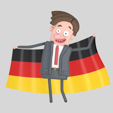 Man holding a big flag of Germany. 3d illustration