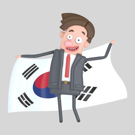 Man holding a big flag of Korea. 3d illustration Stock Photo