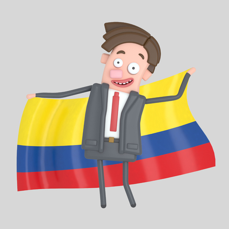 Man holding a big flag of Colombia. 3d illustration Stock Photo