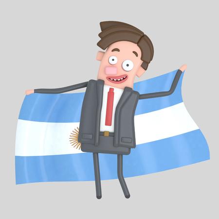 Man holding a big flag of Argentina. 3d illustration Stock Photo