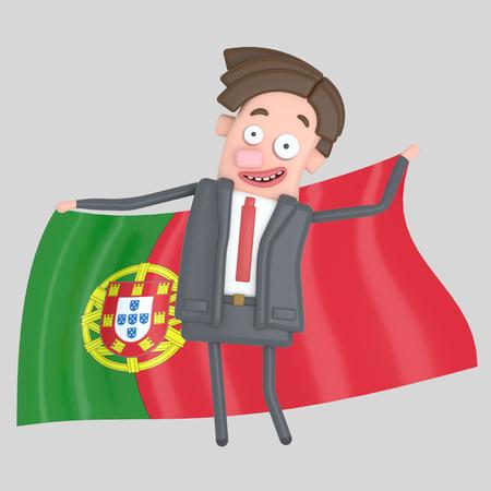 Man holding a big flag of Portugal. 3d illustration