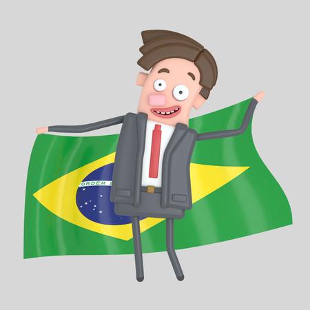 Man holding a big flag of Brazil. 3d illustration