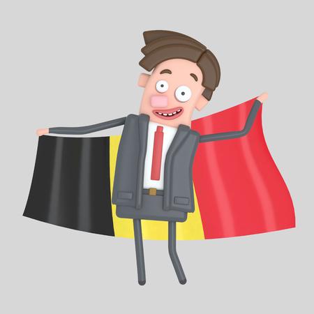 Man holding a big flag of Belgium. 3d illustration Stock Photo
