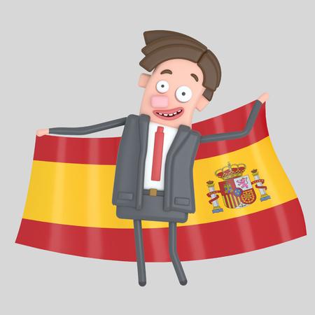 Man holding a big flag of Spain. 3d illustration
