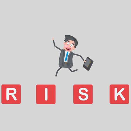 Man jumping over the risk mountain of cubes. 3d illustration Imagens