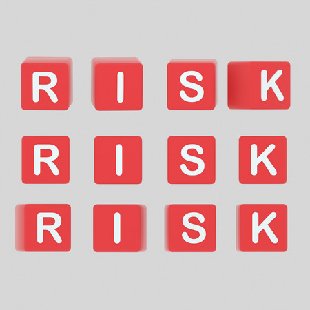 Risk letters cubes. 3d illustration