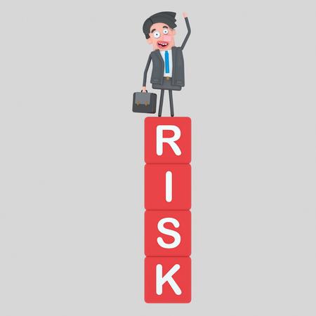 Man standing on a risk mountain of cubes. 3d illustration Banco de Imagens
