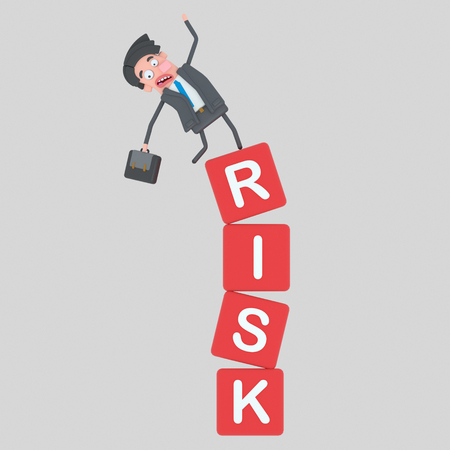 Man falling of a risk mountain of cubes. 3d illustration