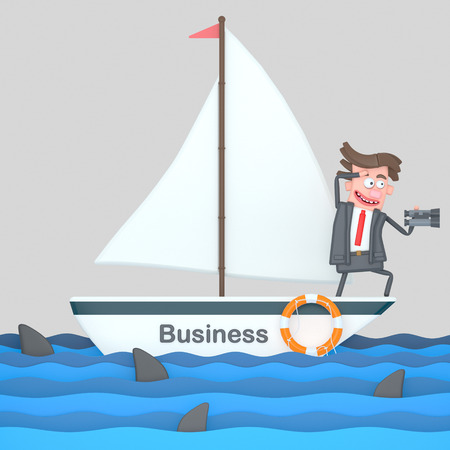Businessman on a sailboat on the sea. 3d illustration