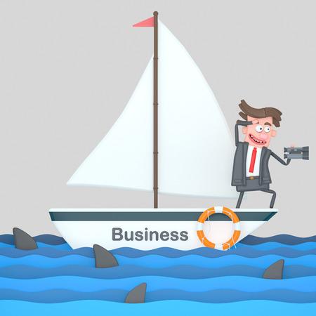 Businessman on a sailboat on the sea. 3d illustration