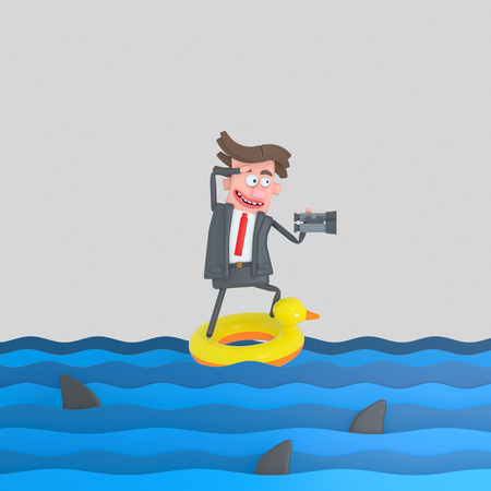 Businessman on a float on the sea. 3d illustration Stock Photo