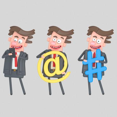 Businessman holding internet symbols. 3d illustration