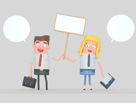 Business couple holding a white banner. 3d illustration Stock Photo