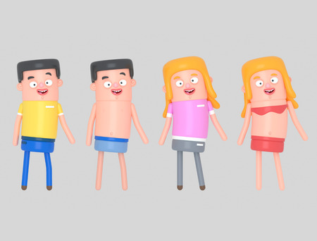 Young people with casual clothes and swimsuit. 3d illustration