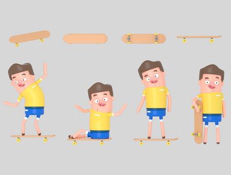 Young boy on skateboard. 3d illustration