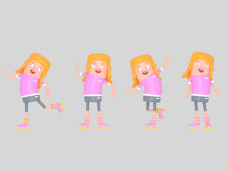 Young girl on roller skates. 3d illustration