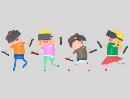 Boy and girl enjoying with virtual reality glasses. 3d illustration