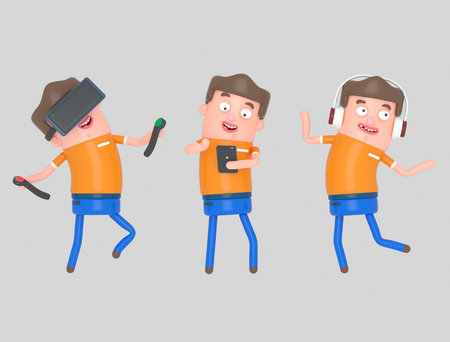 Boy enjoying with technology. 3d illustration