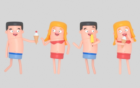 Young people eating ice cream. 3d illustration