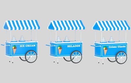 Ice cream car 3d illustration