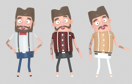 Hipster men. 3d illustration