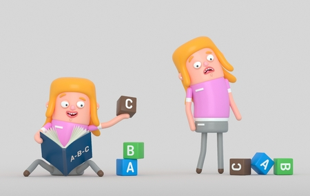 Girl learning to process in a book. 3d illustration